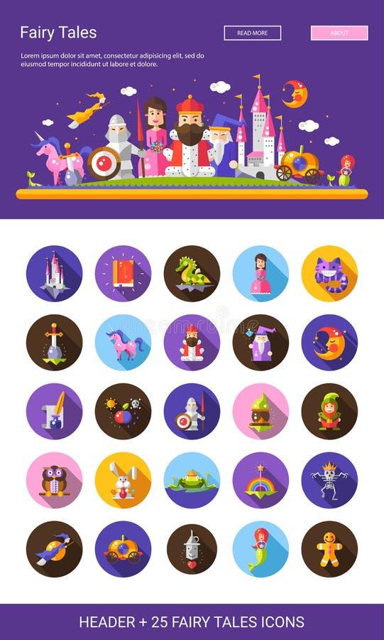 Le icone piane dei personaggi dei cartoni animati di progettazione di fiabe hanno messo con l'intestazione royalty illustrazione gratis