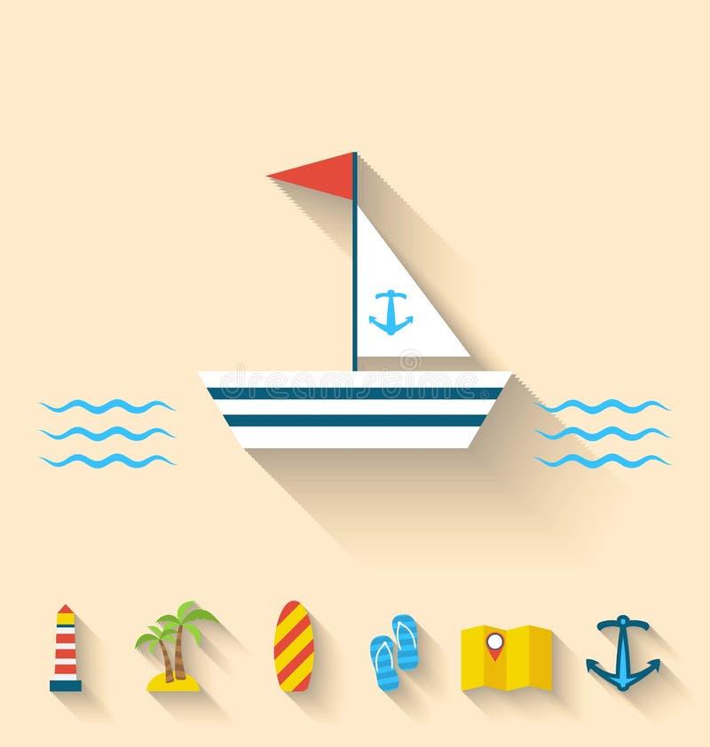 Le icone piane dell'insieme delle feste di crociera ed il viaggio vacation royalty illustrazione gratis