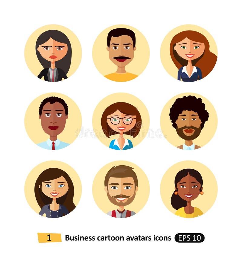 Le icone piane della raccolta degli avatar di affari della gente dei lavoratori team illustrazione vettoriale