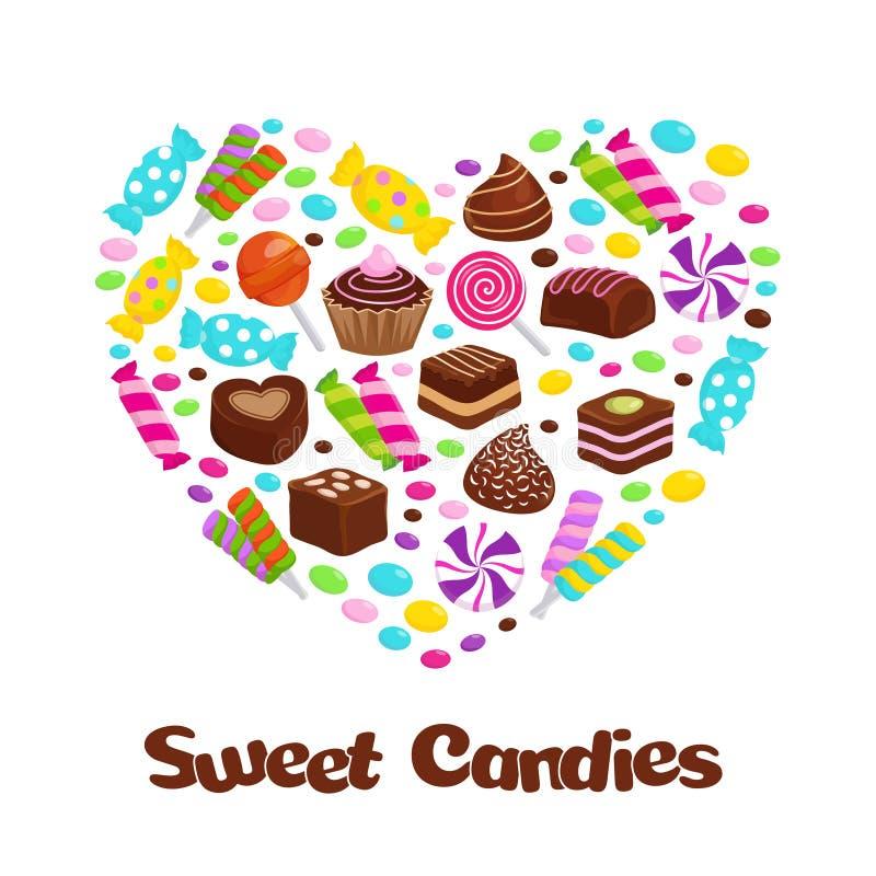 Le icone piane delle caramelle della lecca-lecca del caramello e dei dolci del cioccolato nel cuore modellano royalty illustrazione gratis