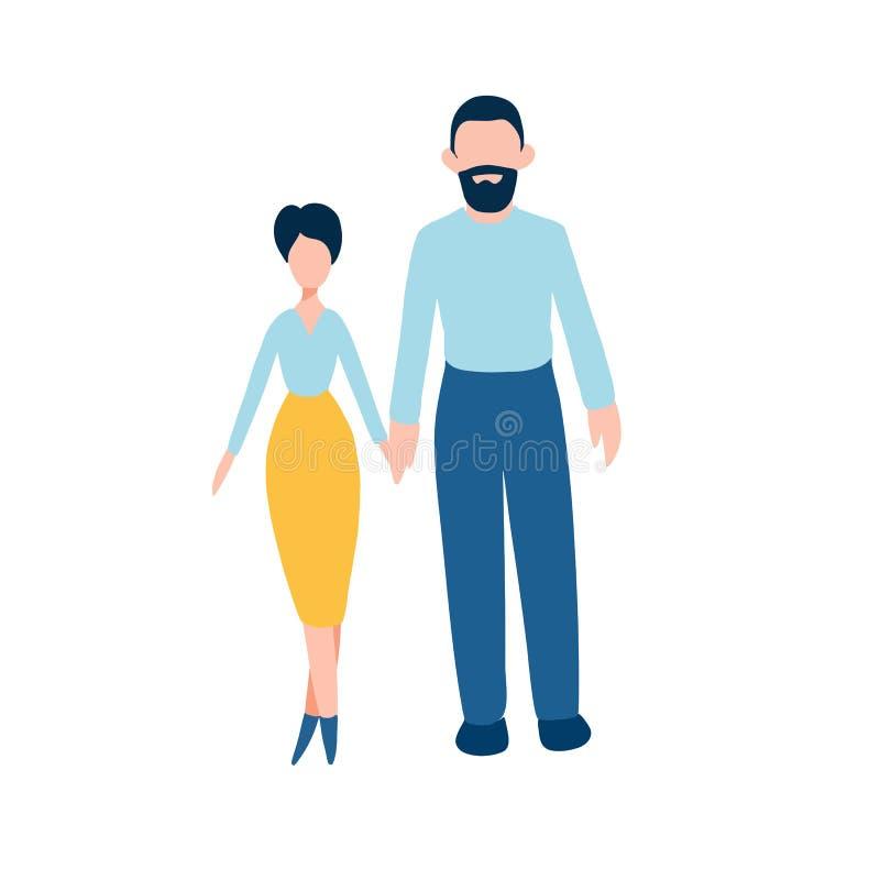 Le icone piane delle coppie felici hanno messo - uomo e donna che tengono insieme le loro mani royalty illustrazione gratis