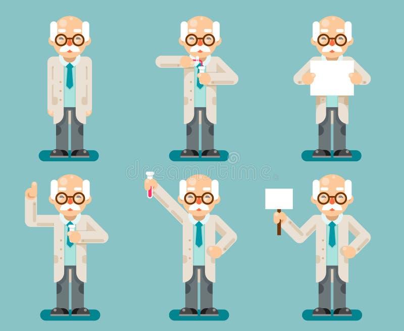 Le icone piane di progettazione del vecchio dello scienziato di esperimento fumetto chimico astuto saggio delle provette hanno me illustrazione di stock