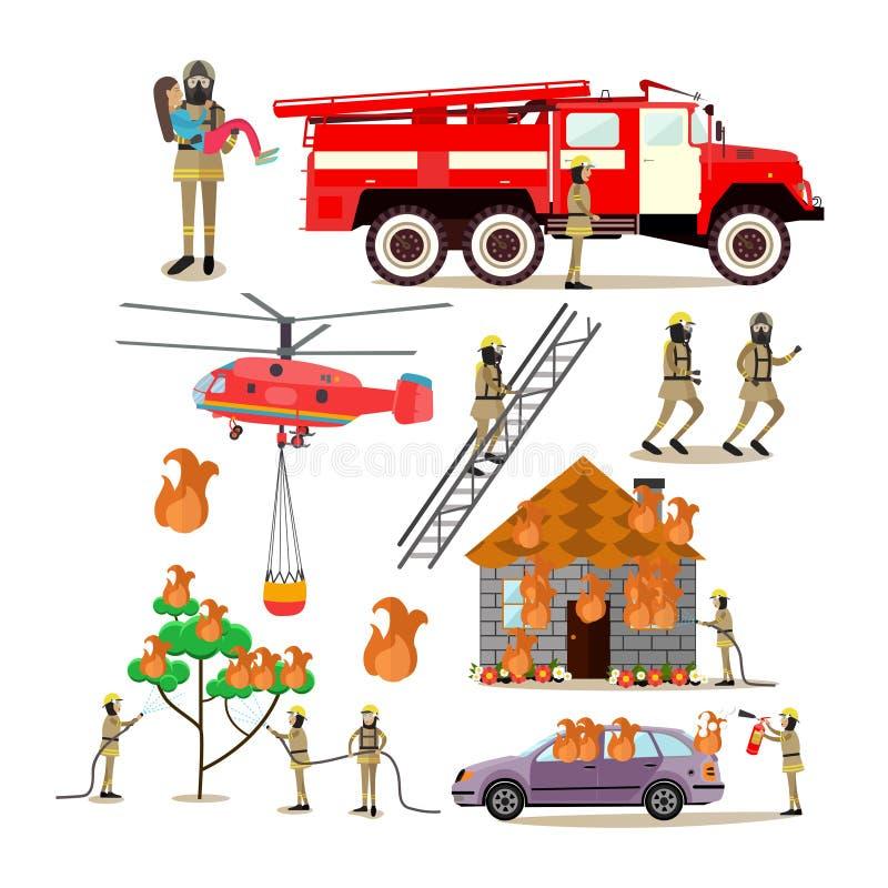 Le icone piane di vettore hanno messo della gente di professione del pompiere illustrazione di stock