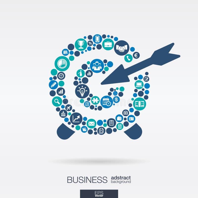 Le icone piane in un obiettivo modellano, affare, la ricerca di mercato, la strategia, la missione, concetti di analisi dei dati illustrazione vettoriale