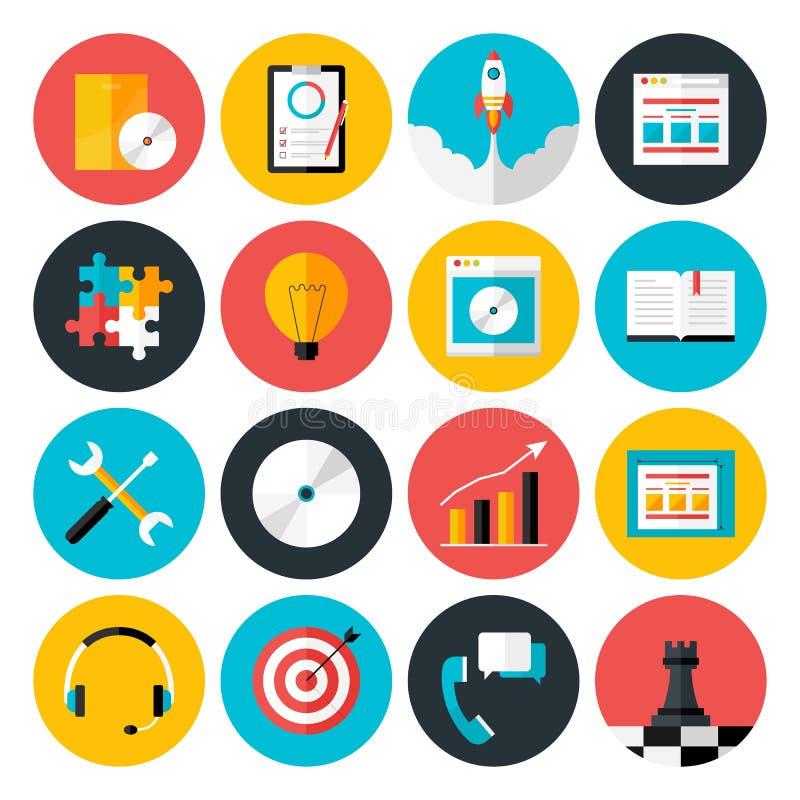 Le icone piane vector la raccolta degli oggetti di web design, affare, di illustrazione di stock