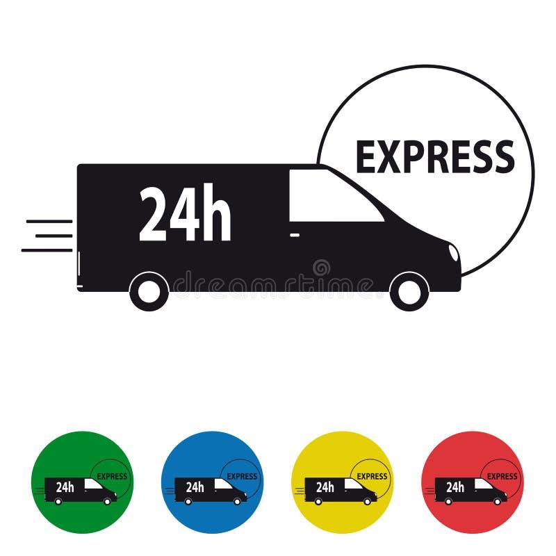 Le icone precise del camion di consegna 24h hanno messo - l'illustrazione variopinta di vettore illustrazione vettoriale