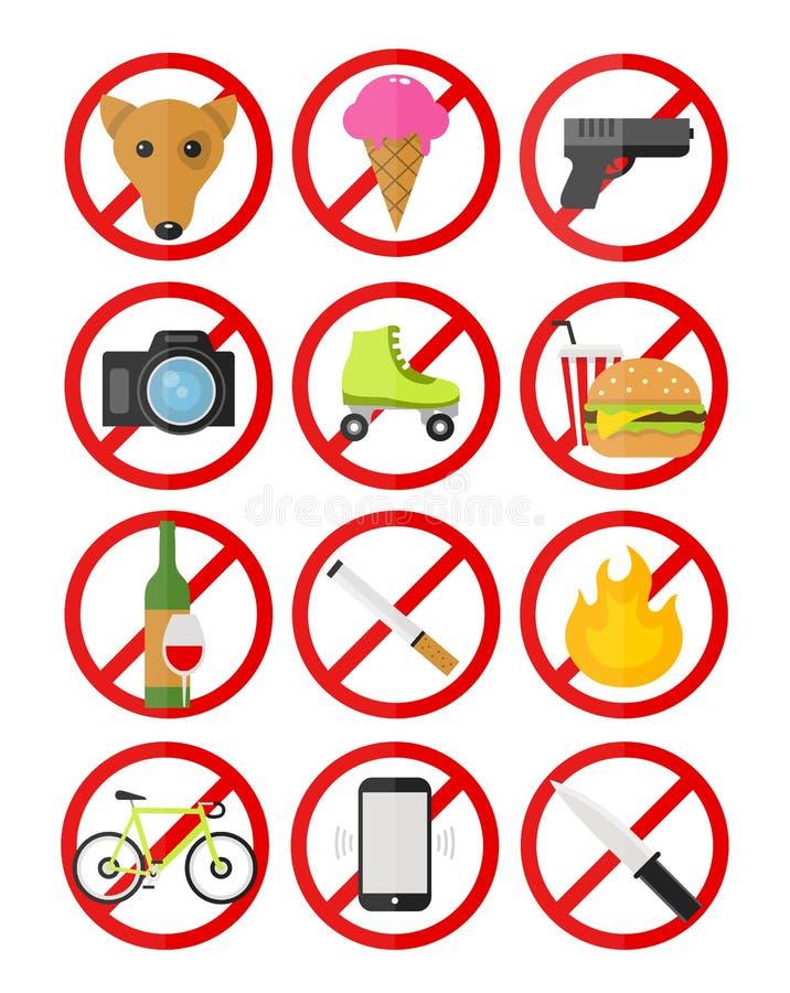 Le icone proibitive dei segni di vettore hanno messo nessun illustrazione vettoriale