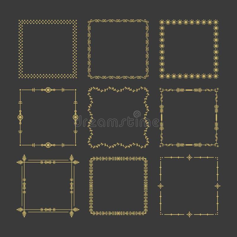 Le icone quadrate dorate delle strutture s progettano l'insieme di elementi su fondo nero royalty illustrazione gratis