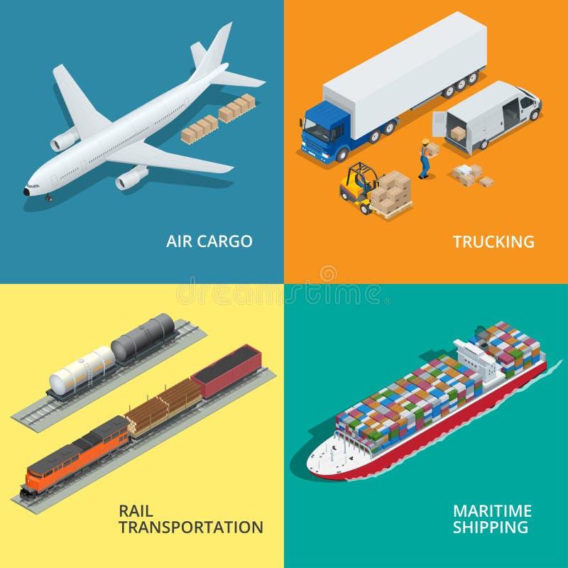 Le icone realistiche logistiche hanno messo delle merci aviotrasportate, trasportando, trasporto di ferrovia illustrazione di stock