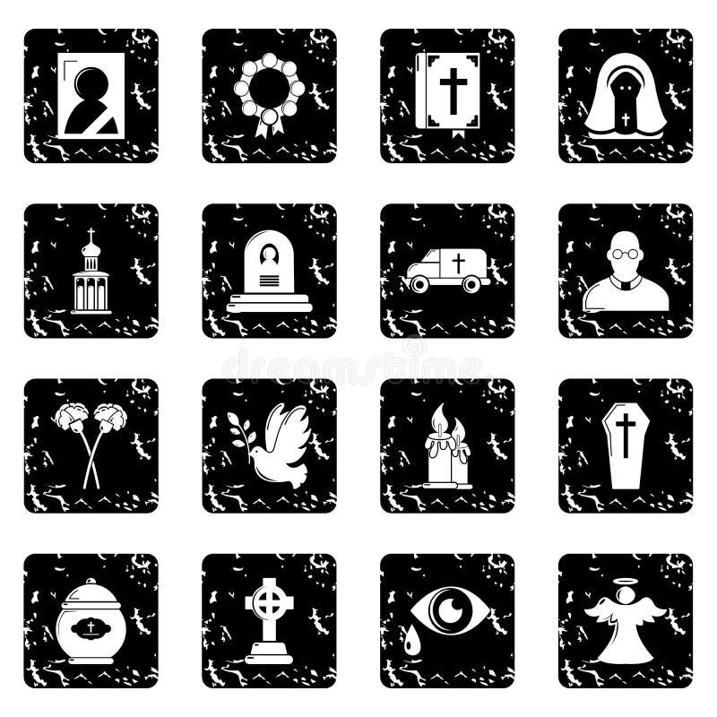 Le icone rituali funeree di servizio hanno fissato il vettore di lerciume royalty illustrazione gratis