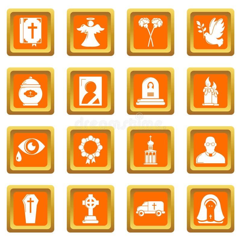 Le icone rituali funeree di servizio hanno fissato il vettore quadrato arancio illustrazione di stock