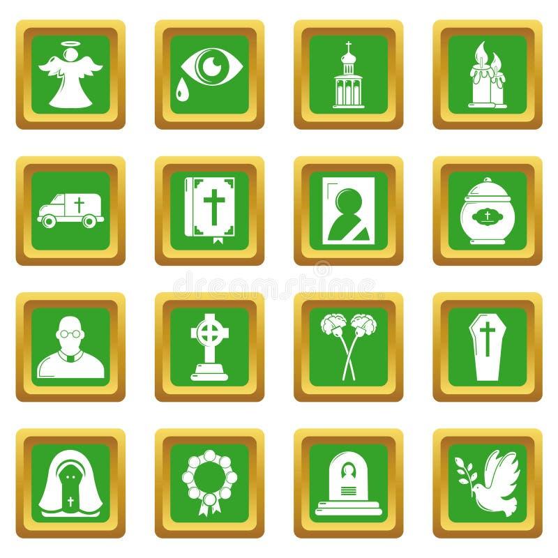 Le icone rituali funeree di servizio hanno fissato il vettore quadrato verde illustrazione vettoriale