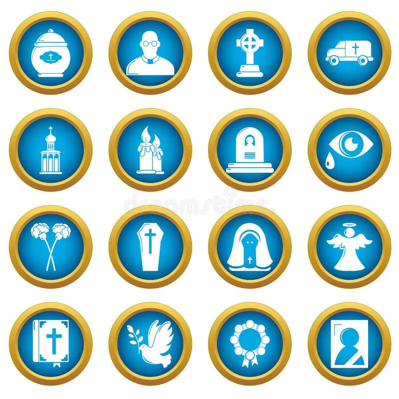Le icone rituali funeree di servizio hanno messo, stile semplice illustrazione di stock