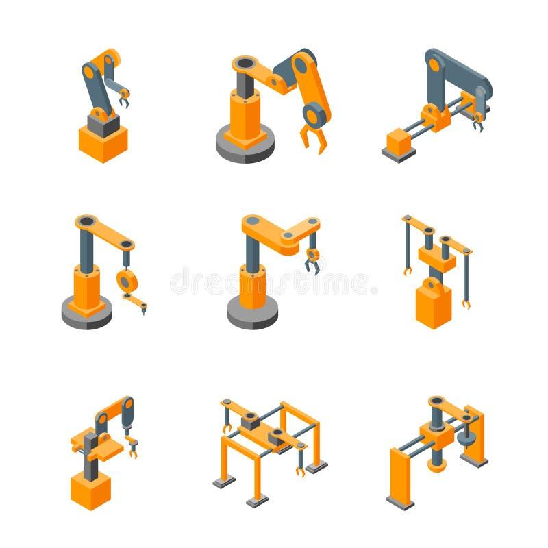 Le icone robot della mano delle macchine del trasportatore hanno fissato la vista isometrica Vettore illustrazione vettoriale