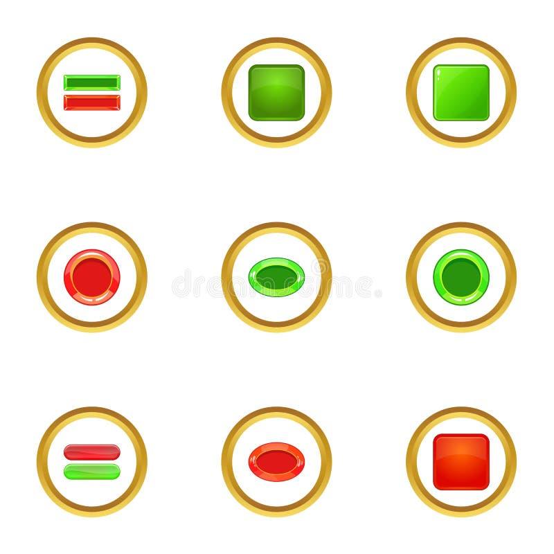 Le icone rosse e verdi del bottone hanno messo, stile del fumetto royalty illustrazione gratis