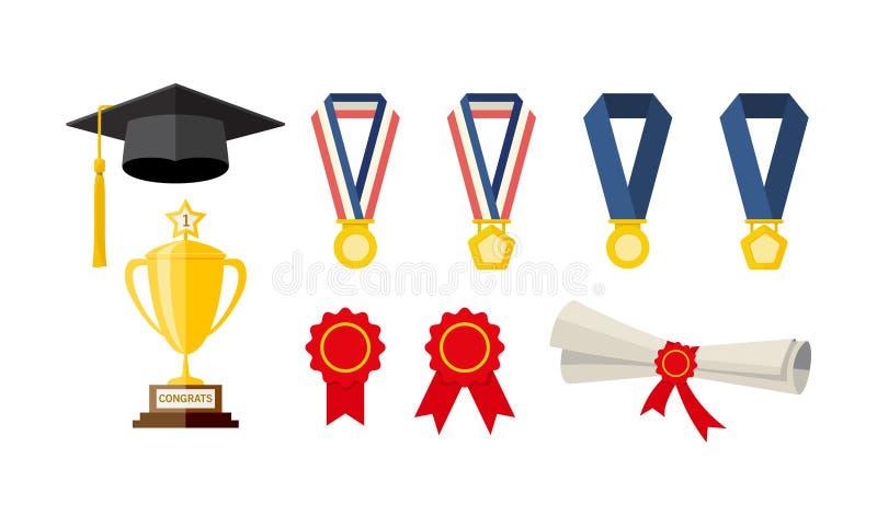 Le icone si sono riferite alla graduazione di istruzione, dei certificati, delle medaglie e dei trofei del cappello della toga immagini stock libere da diritti