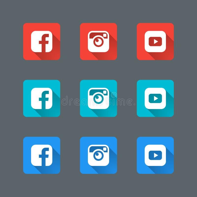 Le icone sociali d'avanguardia hanno messo nella progettazione piana con le ombre lunghe per il web illustrazione di stock