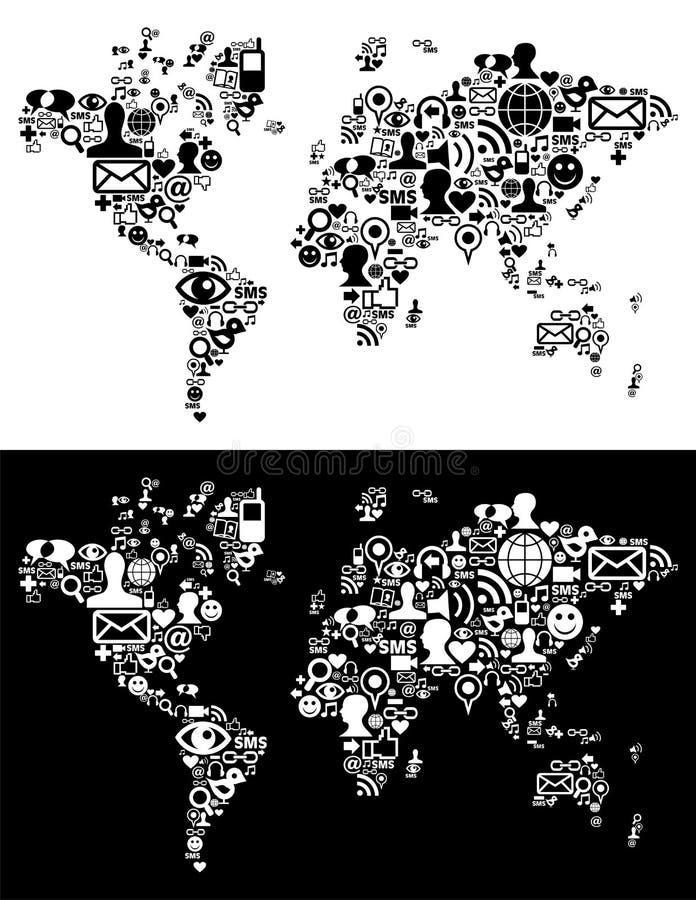 Le icone sociali della rete di media nel programma di mondo calcolano illustrazione vettoriale