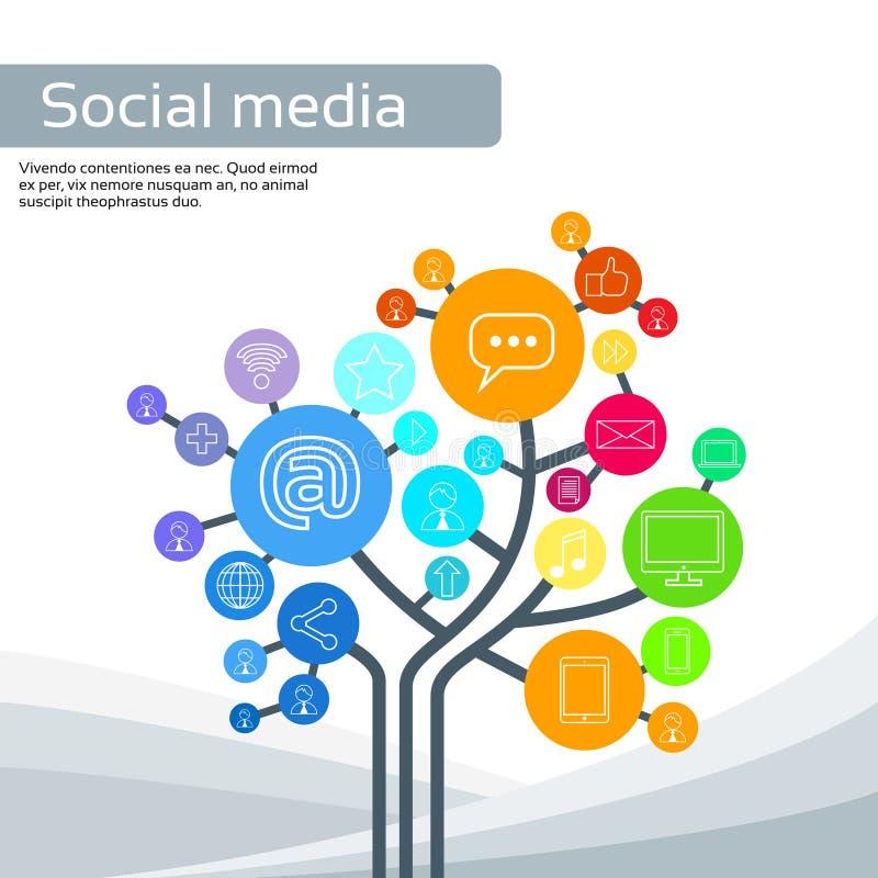 Le icone sociali di media dell'albero della tecnologia assottigliano la linea logo royalty illustrazione gratis