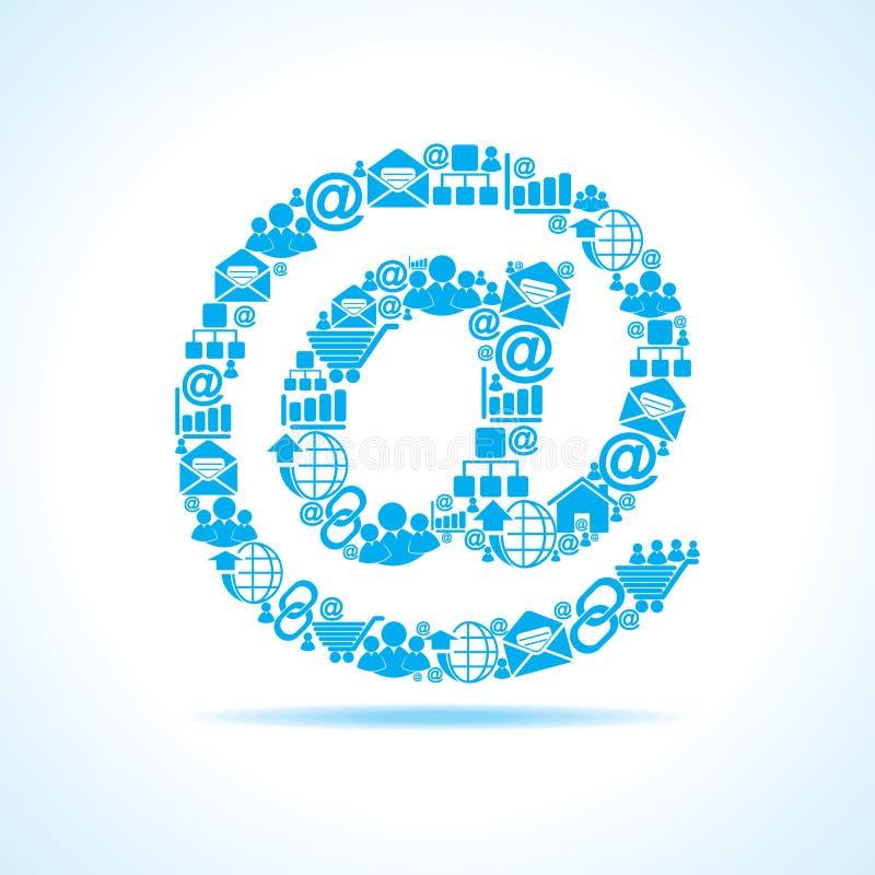 Le icone sociali di media fanno il segno del email illustrazione vettoriale