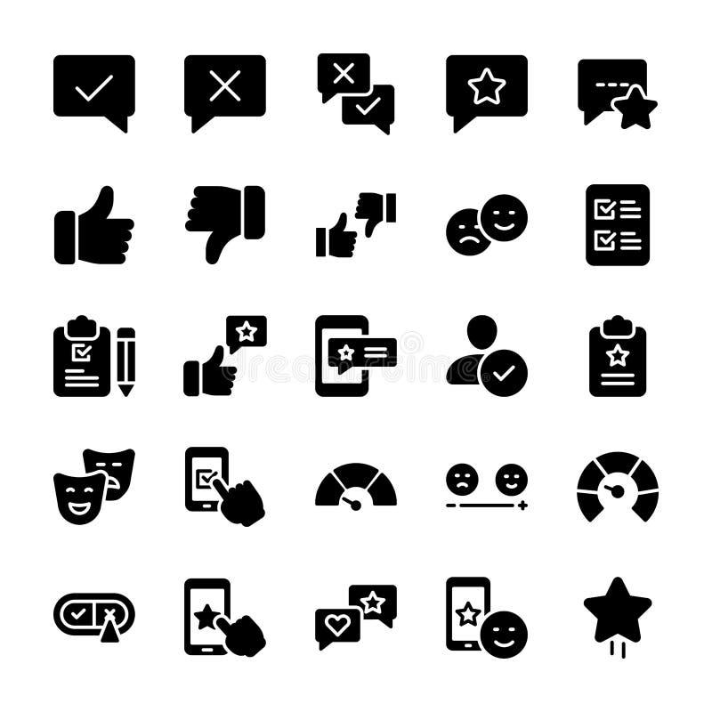 Le icone solide emozionali della lista di controllo e di opinione imballano royalty illustrazione gratis