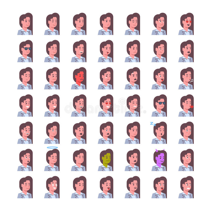 Le icone sorridenti femminili di emozione messe hanno isolato la raccolta del fronte di concetto di espressione facciale della do illustrazione di stock