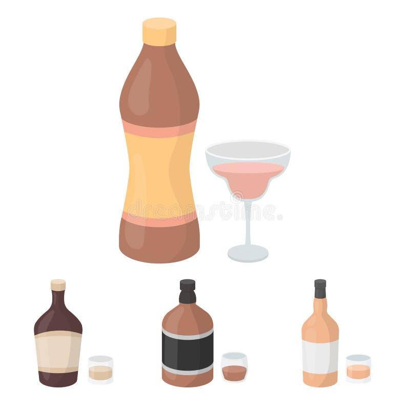Le icone stabilite della raccolta dell'alcool nello stile del fumetto vector il web di riserva dell'illustrazione di simbolo illustrazione vettoriale