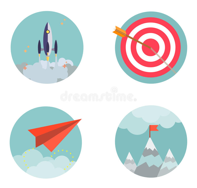 Le icone stabilite di progettazione piana iniziano sui developmen di affari illustrazione di stock