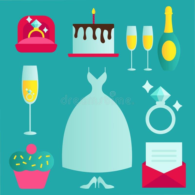Le icone tradizionali di nozze messe con gli accessori impegnati dei damigelle della sposa e delle coppie sottraggono l'illustraz illustrazione vettoriale