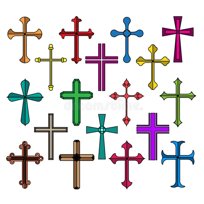 Le icone trasversali cristiane hanno messo isolato su fondo bianco illustrazione di stock