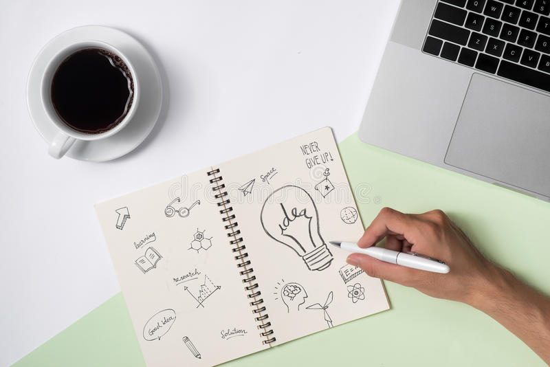 Le idee di affari, la creatività, ispirazione ed iniziano sui concetti, i fotografia stock libera da diritti