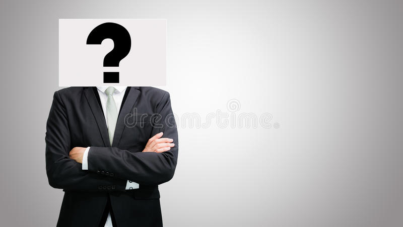Le idee stanti del Libro Bianco dell'uomo d'affari affrontano la tenuta della parte anteriore del hea immagine stock
