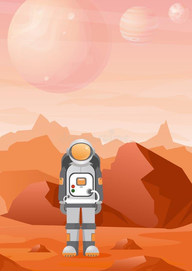 Le illustrazioni di vettore dell'astronauta sul pianeta di Marte con le montagne rosse abbelliscono astronomia, esplorazione spaz illustrazione vettoriale