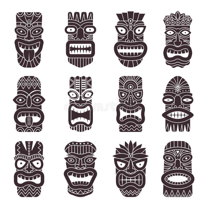 Le illustrazioni monocromatiche di vettore hanno messo del tiki tribale del dio illustrazione vettoriale