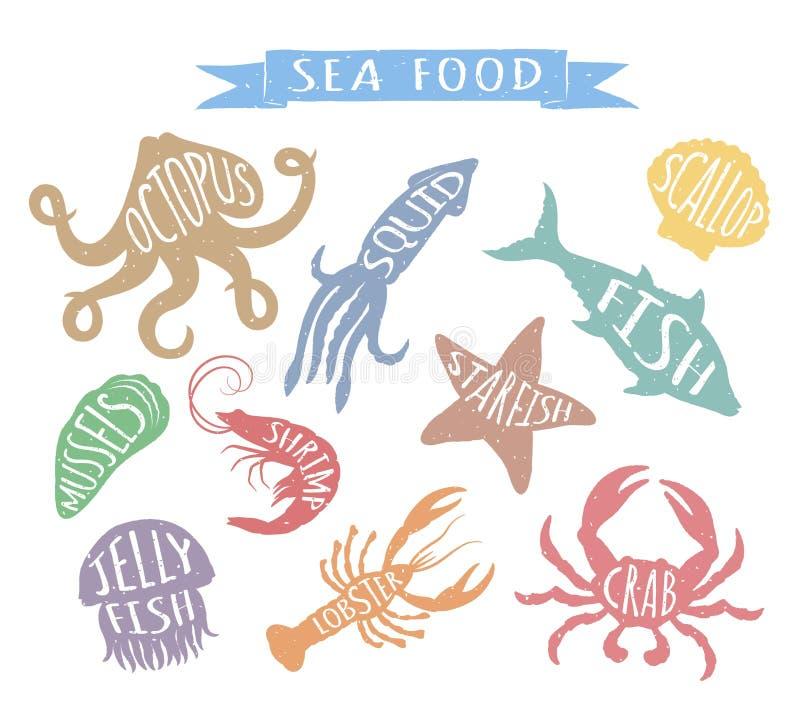 Le illustrazioni variopinte disegnate a mano su fondo bianco, elementi di vettore dei frutti di mare per il menu del ristorante p royalty illustrazione gratis