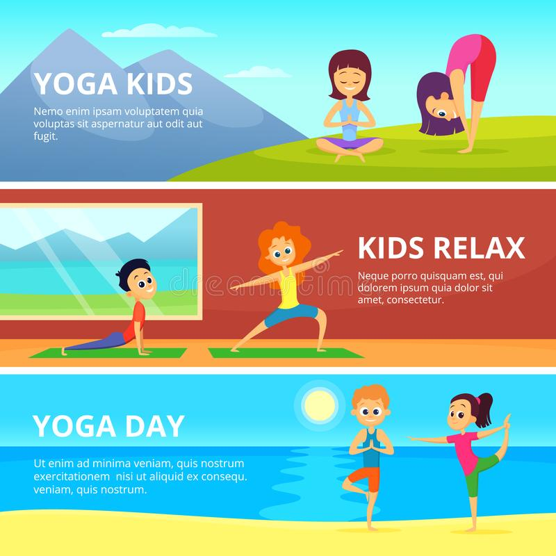 Le immagini all'aperto dei bambini che fanno l'yoga differente si esercita Insegne di vettore con il posto per il vostro testo illustrazione di stock