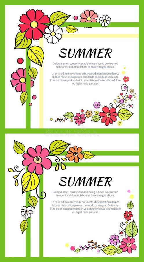 Le immagini dell'estate consiste dei campioni del testo del titolo illustrazione di stock