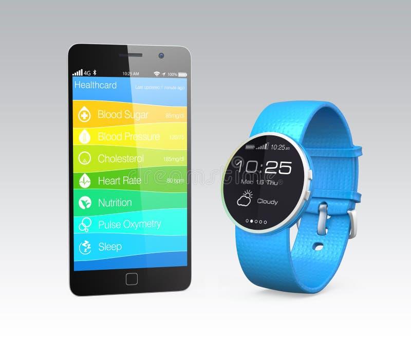 Le informazioni di forma fisica e di salute sincronizzano dall'orologio astuto illustrazione di stock