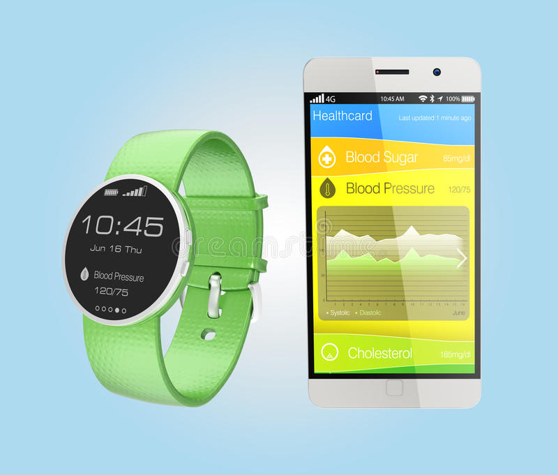 Le informazioni di pressione sanguigna sincronizzano dall'orologio astuto illustrazione di stock