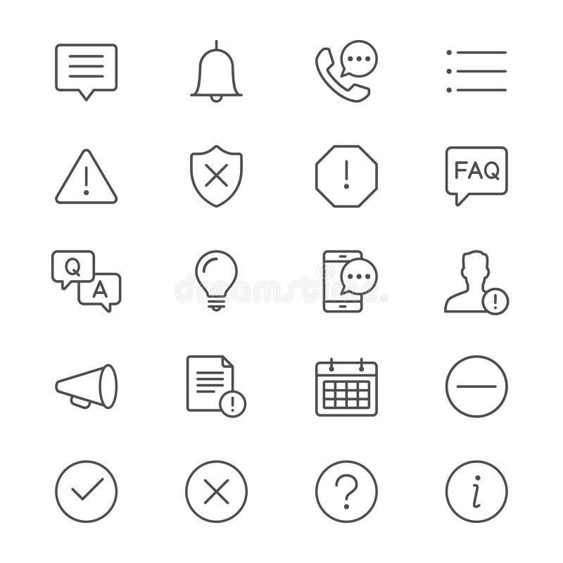 Le informazioni e la notifica assottigliano le icone illustrazione vettoriale