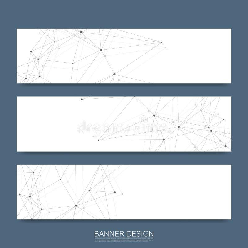 Le insegne astratte delle molecole hanno messo con le linee, i punti, i cerchi, poligoni Fondo di comunicazione della rete di pro illustrazione vettoriale