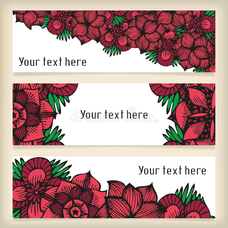 Le insegne con scarabocchiare fiorisce come le rose nel tatuaggio illustrazione vettoriale