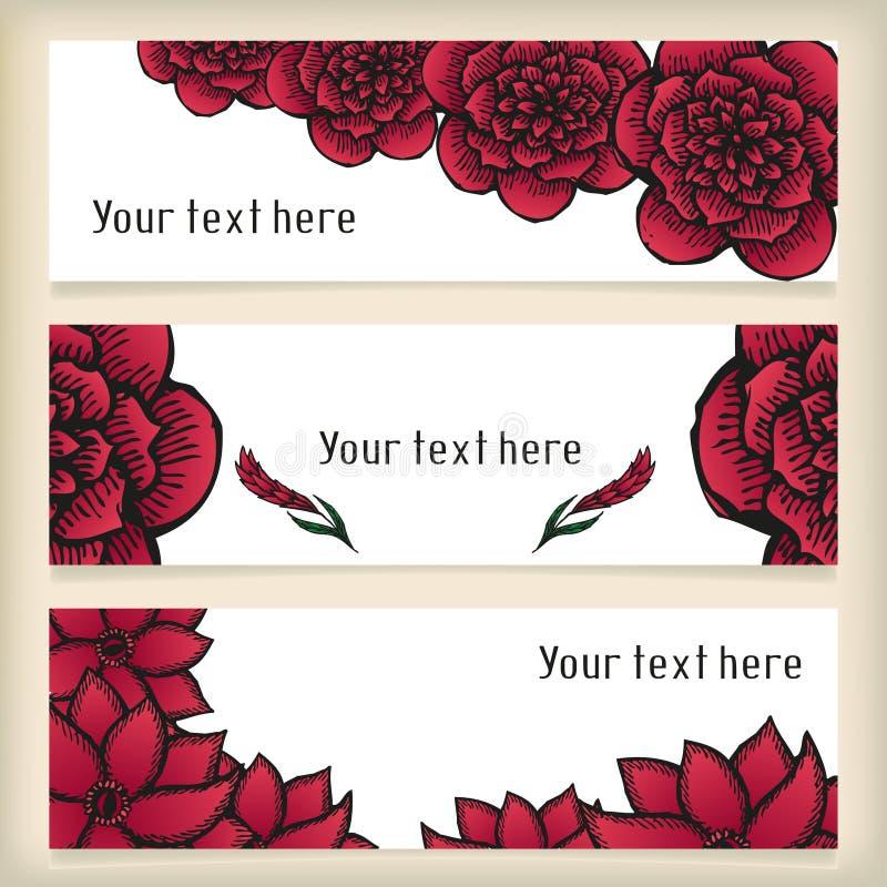 Le insegne con scarabocchiare fiorisce come le rose nel tatuaggio royalty illustrazione gratis