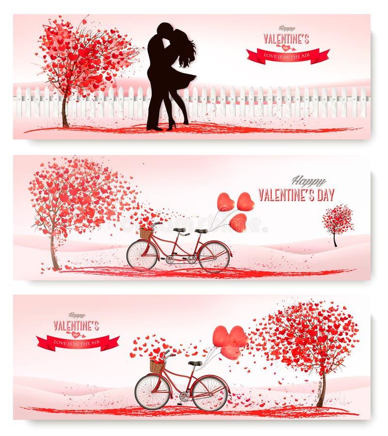 Le insegne di festa di San Valentino con gli alberi a forma di di un cuore e tanden la bicicletta illustrazione vettoriale