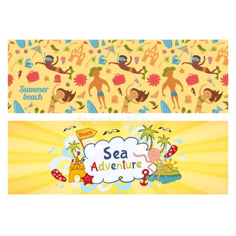 Le insegne di vacanze estive hanno messo, modelli per la festa di ilustration sulla spiaggia del mare illustrazione vettoriale