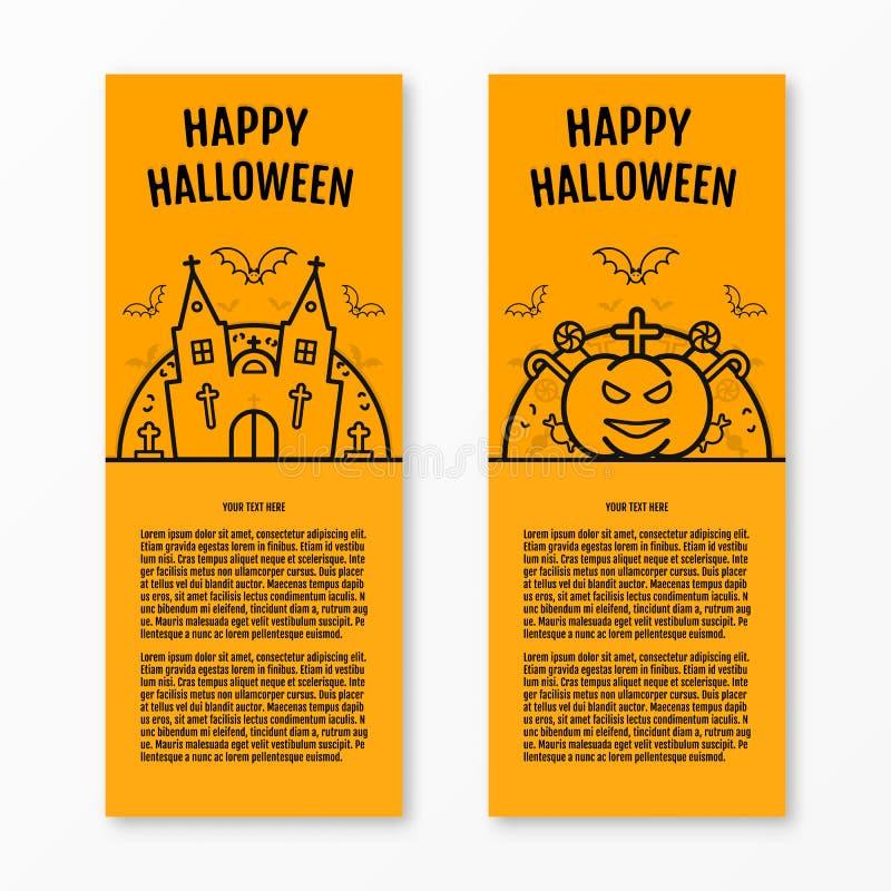 Le insegne verticali arancio di concetto felice di Halloween hanno messo con la chiesa del castello delle tombe della bara della  royalty illustrazione gratis