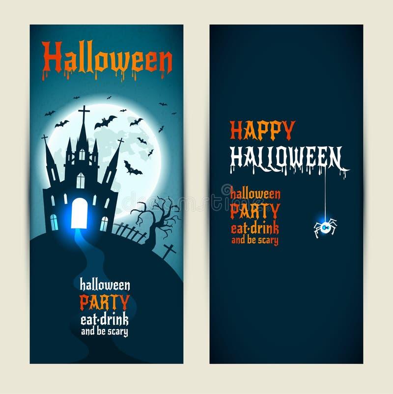 Le insegne verticali di Halloween hanno messo su fondo blu e blu scuro royalty illustrazione gratis