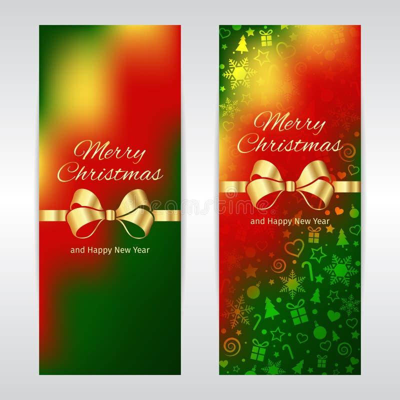 Le insegne verticali di vettore del nuovo anno e di Buon Natale si inverdiscono il nastro dorato del fondo giallo rosso del model royalty illustrazione gratis