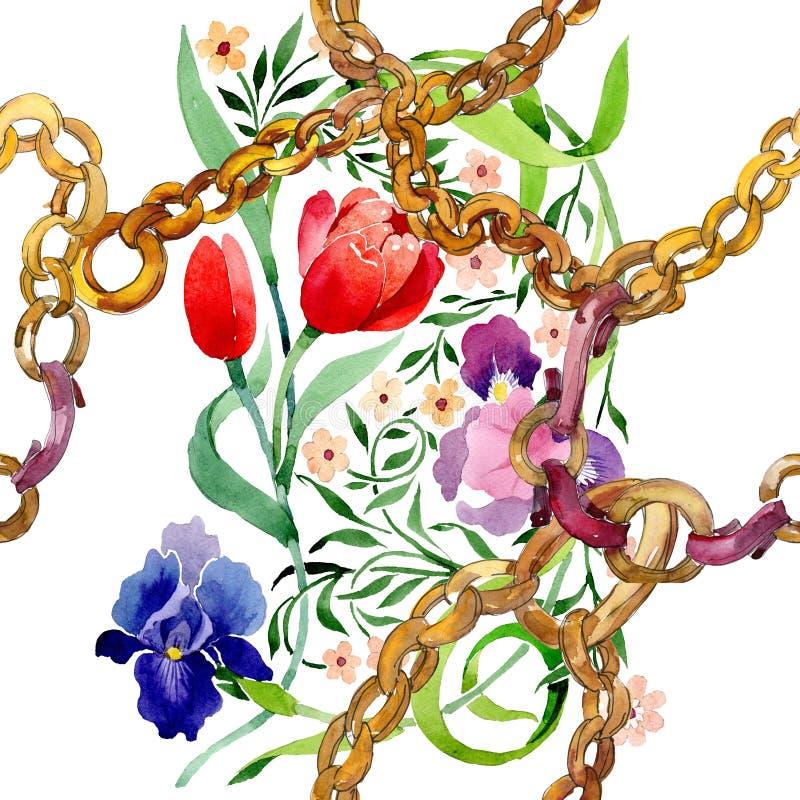 Le iridi ed i tulipani ornano il fiore botanico floreale Insieme dell'illustrazione del fondo dell'acquerello Modello senza cucit royalty illustrazione gratis