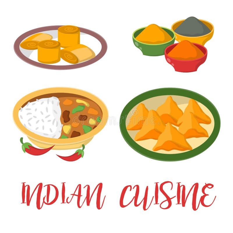 Le jalfrezi indien de poulet avec du riz et le légume corroient la diverse épice illustration stock